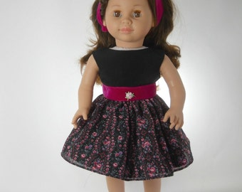 18 inch doll clothes made to fit dolls such as American Girll® , Black and Pink Flower Dress, 09-1375