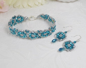 Woven Bracelet and Earrings Set Aqua Blue and Silver Gifts for Her