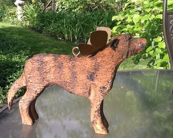 Carved wolfhound, brindle with hook and wing, for garden or as a memorial