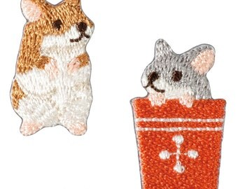 Hamster Patch Set - Animal Embroidered Iron On Patch, Japanese Kawaii Hamsters Iron on Applique,Made in Japan, Embroidery Applique, W106