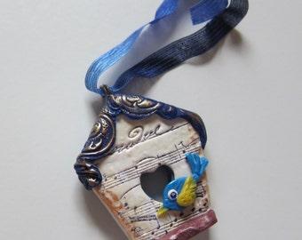 Blue Bird House Ornament Musical Songbird