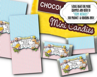 36 Mini Candy Wrappers, Candy Favors, Baby Shower, Birthday Party, Baby Jungle Animals, Wild Animals, Pastel Colors, Pink, Blue, Yellow