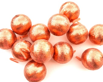Vintage Christmas Foam Ball Ornaments Picks Set of 12 Shiny Tangerine Orange Pink Retro Shabby Christmas