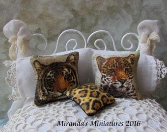 Dollhouse Miniature Tiger Leopard Safari Pillow Set