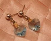 Vintage Blue Glass Heart Earrings-Pierced Earrings-Vintage Earring-Vintage Jewelry-Sweetheart Jewelry-Gift-Christmas Gift-Blue Earrings
