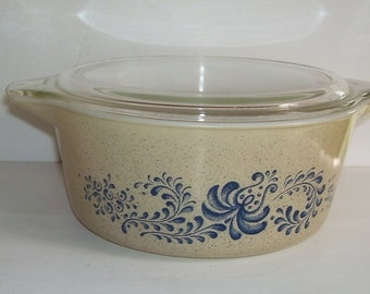 Pyrex 475 Homestead 2 1/2  qt. Round Bowl with Clear Pyrex Lid, Corning Ware, N.Y. Baking Dish Pyrex, Casserole Dish, Cinderella Handles