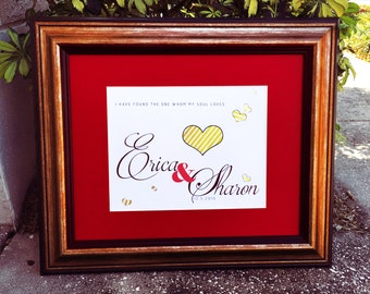 Wedding Gifts Personalized, Custom Lesbian Wedding Gift, Wedding Gifts Name, Wedding Gifts Date, Cranberry Red Wedding Gift Framed Art Print