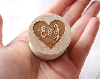 Personalised Wooden Ring Box - Custom made with the initials of your choice - Heart design ~ Rustic