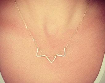NEW - Triple Triangle Mini in Gold - Tiny Dainty Chevron Pendants - Dainty Gold Jewelry - Perfect Handmade Gift - The Lovely Raindrop