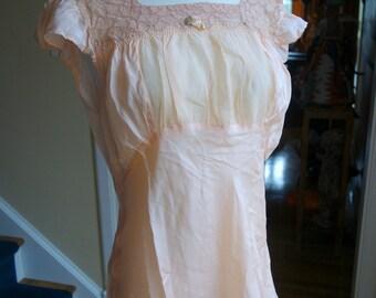 Peach Silky Lace Lingerie  Set