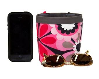 Car Cellphone Caddy, FLOWER SHOWER PINK by Michael Miller, Sunglasses Holder, Golf Cart Bag, Pool Chair Caddy, Beach Chair Bag