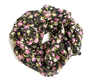 LightWeight Scarf, Floral Scarf, Black Scarf with Pink Yellow Green Flowers, Fashion Scarves, Infinity Scarf, Gifts for Teen Girls, Women's