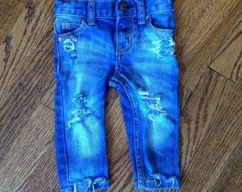 Skinny Mini distressed baby or toddler jeans (med/light wash)