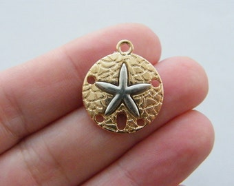 BULK 20 Sand dollar charms gold and silver tone FF202