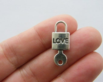 8 Love and lock and key charms antique silver tone K96