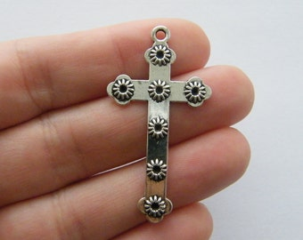 4 Cross charms antique silver tone C88