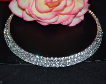 Bridal crystal Necklace choker,  Wedding Necklace, Bridal Accessory, Wedding Jewelry, Rhinestone Necklace, Bridal Jewelry, prom jewelry