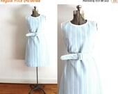 ON SALE 1960s Dress / 60s Light Blue Plaid Geometric Mod Dress