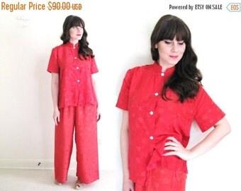 ON SALE 40s Pajamas / 1940s Lounge Set / 1940s Red Pajamas