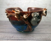 Ceramic yarn bowl with kookaburra & koala figurines hand crafted  Anita Reay AnitaReayArt Australian pottery 2ND