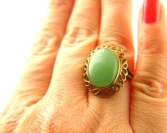 Jade Ring - Sterling Silver - Vintage