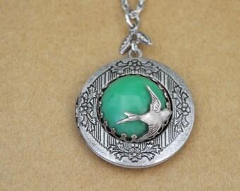locket necklace, antiqued silver plated brass locket, EVERGREEN, Swarovski jade color vintage glass cab