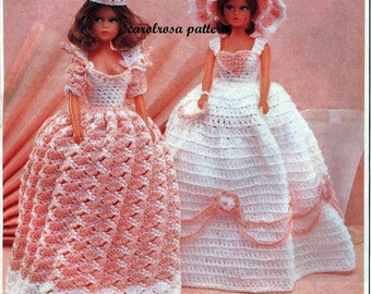 Vintage Crochet Pattern - Barbie Tammy size dresses - 11.5 inch fashion doll Immediate download