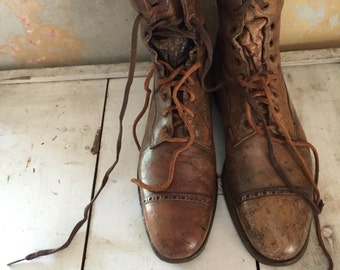 Antique leather lace up boots| footwear| camel brown