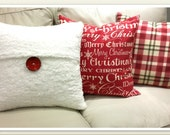 Christmas Decorative pillow insert included, Toss Pillow, Holiday pillow 20 X 20 Soft Feather Pillow