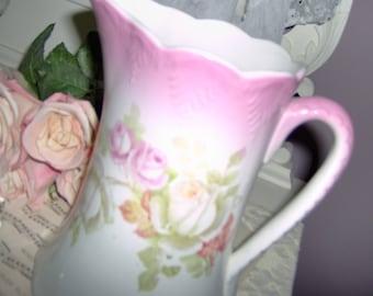 Roses Pitcher Ironstone Vase Romantic Chic Cottage Shabby Scallop Fabulous Farmhouse Vintage