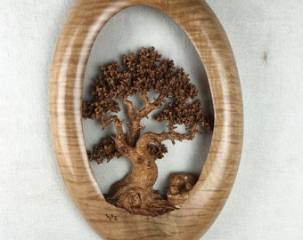 Unique Oak Tree wood carving home wall decor best gift ever