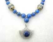 Afghan Lapis Medallion, Quality Lapis & Turkmen Silver Beads, Sterling Spacers, Silk Road Statement Necklace by SandraDesigns