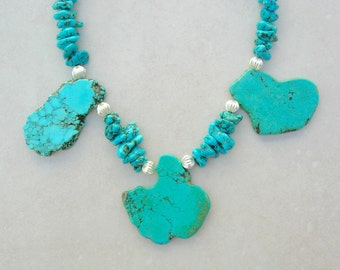 Dramatic Turquoise Slabs, Turquoise Chips, Corrugated Silver Beads, Necklace by SandraDesigns
