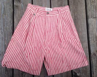 Red Cream Striped Linen Shorts