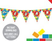 INSTANT DOWNLOAD Building Bricks Party - DIY printable pennant banner - Includes all letters, plus ages 1-18