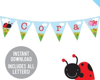 INSTANT DOWNLOAD Bug Garden Party - DIY printable pennant banner - Includes all letters, plus ages 1-18