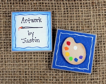 Personalized Artwork Display Magnet,Paint Pallette Magnet, Refrigerator Magnet Set, Wooden, Handpainted