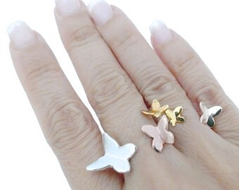 Handmade Adjustable Tricolour Gold-plated Sterling Silver Butterfly Double Ring Set/Between Finger Rings