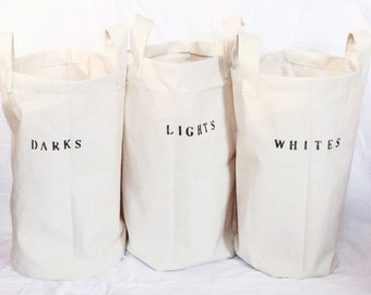 3 standing laundry bags for home or dorm   hampers bins baskets canvas labeled sorted laundry storage for separating darks lights whites