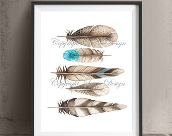 Printable Art Decor Feathers Saying Quote Print Your Own Instant Download Art Print Wall Art Typography Poster