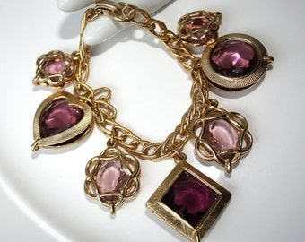 SALE Vintage 1960s  Charm Bracelet Purple Glass Dangles