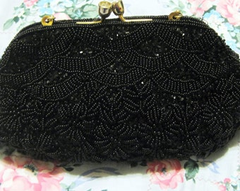 Vintage 50's Hong Kong, Black Beaded Bag