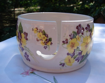 Sunshine Primrose and Purple Viola!! Ceramic Yarn Bowl / Yarn Holder