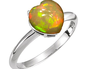 AAA Crystal Opal 9mm Heart 14kt Yellow, Rose or White Gold Unique Engagement Ring, Opal birthstone Ring, Gold Heart Ring