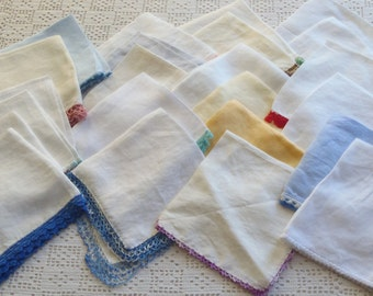 Vintage Handkerchief Lot 22 Pieces with Edgings Good Condition