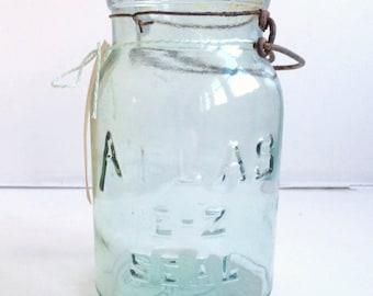 Turquoise Atlas Ball Mason Jar