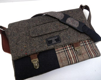 "Mens Messenger Bag,Laptop bag, 13"" Macbook Messenger bag Macbook,Laptop Sleeve, Vintage, Wool, Trunk Latch,Recycled Suit Coat"