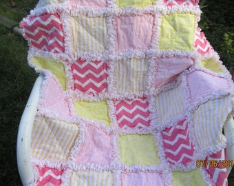 Baby girl rag quilt, shabby chic,  chevron,  pink,  yellow,  nursery quilt