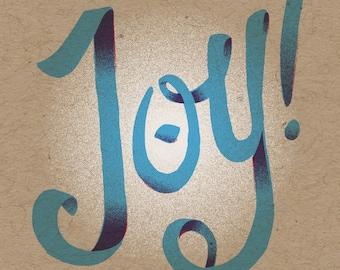 "Joy! Holiday Print - 8"" x 10"" Art Print on 100# French Speckletone Kraft Cover, Vintage-Inspired"