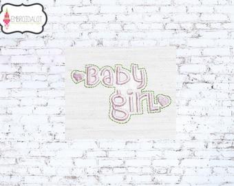 Baby girl machine embroidery design. Text embroidery with hearts. Pretty baby girl embroidery for newborns.
